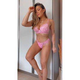 conjunto rosa claro bicolar